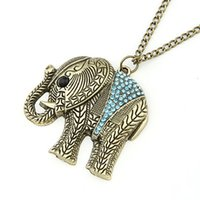 Wholesale Long Elephant Pendant Necklace - Fashion Elephant Ethnic Necklace Full Crystal Thailand Elephant Pendant Sweater Long Chain Fine Necklace For Women #225 N173