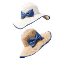 Wholesale Dayan Mao - Wholesale-E Sun Hat Straw Beach Headwear Cap Bohemia Wide Large Brim Han Guochun bow Dayan Mao summer beach hat sun hat sun hat Korean fe