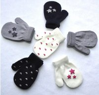 Wholesale Wholesale Knit Kids Gloves - kids gloves heart start knitting warm glove children boys Girls Mittens Unisex Gloves Children Gifts Mittens KKA3379