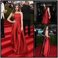 Wholesale Taffeta Gala Dresses - 2016 Met Gala Hailee Steinfeld Sexy Simple Red Carpet Celebrity Evening Dresses Taffeta Backless A Line Halter Neck Vestido