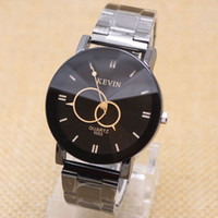 Wholesale Mens Black Watch Band Wholesale - Wholesale-Fashion Men Design Black Stainless Steel Band Watch Top Brand Round Dial Quartz reloj Luxury Mens Wrist Dress Watches relogio