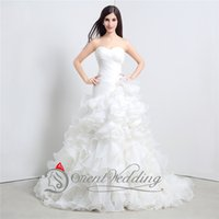 Wholesale Strapless Ball Dresses Prom - New Arrival Ball Wedding Dresses Strapless Strapless Lace-Up In Stock Formal Prom Gowns Ruffle 100% Real Image Fashion Bridal Dresses
