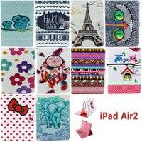 Wholesale Ipad Cases Free - Tribe Elephant Owl Series 3 Card Slots Folio Stand Leather Case for ipad air2 ipad 6 with Money Clip,Free Shipping
