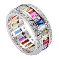 Wholesale ring peridot - Fashion R489 sz# 6 7 8 9 10 Pink red Peridot Morganite Blue Amethyst Cubic Zirconia Silver Plated Romantic ring