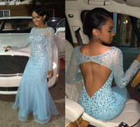 2016 Light Sky Blue Kristalle Brautkleider mit Illusion Langen Ärmeln Backless Perlen Mantel Abendgesellschaft Kleider Tüll Besonderen Anlass Kleid