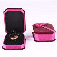 Wholesale Bow Jewelry Boxes Wholesale - 2015 Bow Velvet Gift Box Upscale Jewelry Cartridge Box Necklaces Box Jewelry Box 4 Colors for choices 9.8x7.4x3.3cm