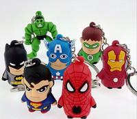 anime superheld figur großhandel-Lastest The Avengers Captain Amerikanischer Anime Superheld Spiderman Batman Iron Man, Thor IRON MAN PVC Schlüsselanhänger 3D 3-4cm Figuren PVC Schlüsselanhänger