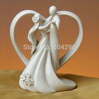 Wholesale Topper Cake Ceramic - Ceramic Wedding Cake Topper of Dancing Bride and Groom with Heart Couple Figurine Wedding Table Decoration Wholesale 10pcs