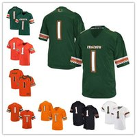 Wholesale Custom College Shirts - New 2017 Mens Custom Miami Hurricanes Jersey Womens Kids 100% stitched Any Name Any No Football College Jerseys Best College Hurrican Shirts