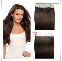 Wholesale brazilian human hair 18 5a for sale - grade A Brazilian Human PU EMY Tape Skin Hair Extensions g g pack dark brown DHL FREE shpping
