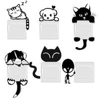 ingrosso adesivi da parete per interruttori per gatti-Fai da te divertente carino cane gatto interruttore adesivi murali decorazione della casa decorazione camera da letto salone