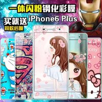 Superman Skin Iphone Pas Cher-9H verre trempé protecteur d'écran Cartoon Front Dos complet du corps Doraemon Bonjour kitty Superman Pour Iphone 6 6S plus Samsung Galaxy S7 S6 peau
