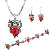 Wholesale Owl Earrings China - Hot Sale Elegant Turquoise Owl Earrings Pendant Necklace Bracelet Jewelry sets