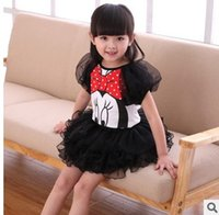 Wholesale Girl Puff Skirt Set - New Cartoon Girls Clothing Set Kids Clothes Mickey Puff Sleeve Tops + Tulle Tutu Skirt Summer children sets girls outfit C2538