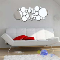 Wholesale Wall Decals Circles - New Arrivals 2016 30pcs Filled Circle Mirror Style Removable Decal Art Mural Wall Sticker Home Decor Free Shipping