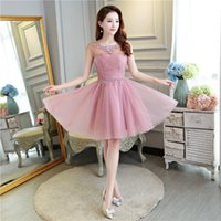 Brautjungfer kleid kurzen abschnitt 2017 neue oansatz licht rosa abendkleider elegante tüll ballkleid braut party formale dress homecoming dresse