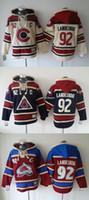 bej hoodies sweatshirts toptan satış-2015 Yeni Toptan erkekler Colorado Çığ # 92 landeskog kırmızı / mavi / bej Kapşonlu Formalar Hokey Hoodies Formalar Tişörtü, Ücretsiz Kargo