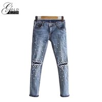 Wholesale Vintage Plaid Pants Women - Gold Hands Women Ripped Jeans Women Pants Cool Denim Straight Jeans For Girl Mid Waist Casual Slim Pencil Pants Female