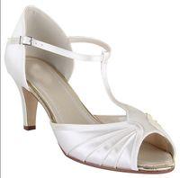 peep toe kegel fersen großhandel-Weiße Hochzeits-Schuhe für Brautschuhe 2016 T-Bügel Schnalle 8cm Kegel-Ferse Peep Toe Covered Zurück Günstige Modest Bridal Zubehör Sandalen