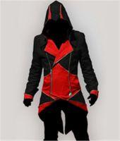 katilin inançlı hoodie kostümü toptan satış-Cosplay Ceket Assassins Creed 3 III Connor Kenway Hoodies / Kostümler Ceketler / Ceket 9 renkler fabrikadan doğrudan seçin