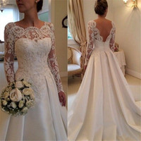 Wholesale Bateau Neckline Lace Wedding Dress - 2015 Long Sleeve Wedding Dresses A Line Sheer Neckline Backless Lace and Satin Bridal Wedding Gowns
