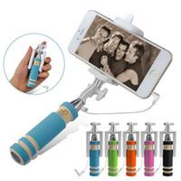 Wholesale New Super Mini Wired Selfie Stick Handheld Portable Light Foam Monopod Fold Self portrait Stick Holder for iphone samsung Android smartphone