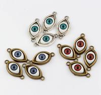 Wholesale Evil Eye Bronze - Hot ! 100pcs Antique Silver & Antique Bronze Zinc Alloy Turkish Evil Eye charms Pendants DIY Jewelry