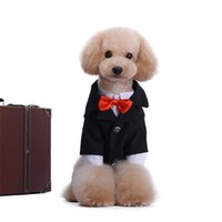 Wholesale Classy Clothing - Puppy Pets Wedding Formal Dresses Nylon Cotton Fabric Dogs Tuxedo Clothes Classy Black Color Trendy Dogs Tuxedo for YHT-039