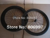 Wholesale Carbon Wheels Bike 88 - Wholesale-Free shipping!!! 3K glossy finish 700c road bike cheap carbon clincher wheelset,(60+88)mm super light carbon fiber wheels