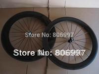 Wholesale Cheap Carbon Bike Wheels - Wholesale-Free shipping!!! 3K glossy finish 700c road bike cheap carbon clincher wheelset,(60+88)mm super light carbon fiber wheels