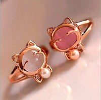 Promoção Coreano Mulheres elegantes Coreano Lovely Girls lovely cat Simulated imitation Pearl opal Abertura Adjustable Ring 3 cores