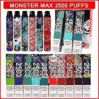 Monster Max Disposable Vape 2500 Puffs Electronic Cigarette 7.5ml Liquid Cartridges 650mAh Battery Vapes Pen Pods 10 Colors Ecigarette