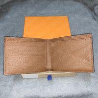 Wallets mens Cash wallet purses multicolor coin credit card holder pocket short paris plaid style man genuine leather with Box fold Mezzanine Totes