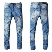 European and American summer hip-hop high-street fashion brand jeans, washable retro torn fold stitching men's designer motorcycle slim-fit pants.