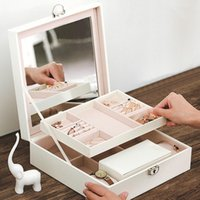 watch case storage organizer 2021 - Fashion Leather Jewelry Box Organizer With Mirror Lock Watch Necklace Bracelet Ring Earrings Travel Storage Case Gifts Pouches, Bags