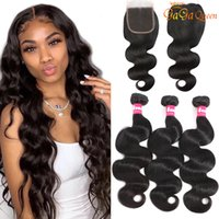 Brazilian Body Wave Human Hair Bundles With Closure Peruvian Loose Wave Water Wave Straight Hair Extensions