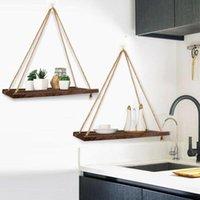 Wood Swing Hanging Rope Wall Mounted Floating Shelves Plant Outdoor Design Decoration Indoor Pot Flower Simple V5E9 Hooks & Rails