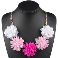 plastic link chains 2021 - Trendy Colorful Jelly Clear Plastic Flowers Lady's Women's Exaggerated Fashion Choker Necklace Party Jewelry 16 Colors Chokers