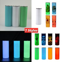 Sublimation Straight Tumbler 20oz Glow in the dark Blank Skinny Tumblers with Luminous paint Vacuum Insulated Heat Transfer Car Mug 7 Styles