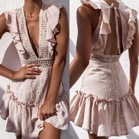 Discount dress open shoulders knee length back Casual Dresses Sexy open deep V waist lace drs