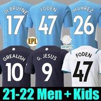 Manchester soccer jersey 21 22 GREALISH MAN G. JESUS CITY STERLING FERRAN DE BRUYNE FODEN Fans Player version 2021 2022 football shirts uniform men + kids kit