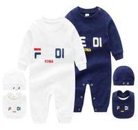 2021 Infant 3 PCS Set Hat Bib Jumpsuit Kids Designer Rompers Girls Boys Brand Letter Newborn Baby Clothes Toddler