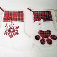 Large Fluffy Santa Socks Christmas Pet Dog Plaid Paw Stocking Hanging Fireplace Xmas Tree Christma Decoration 08