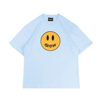 cotton justin bieber 2021 - short blue smiling face Drew ice sleeve Justin Bieber Unisex fog high street fashion brand loose T-shirt cotton summer