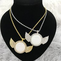 20Pcs Lot Custom hip hop Jewelry Sublimation Angel Wing Necklace Pendant With Insert And Chain For Promotion Gifts