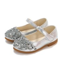 rhinestone princess flat shoes 2021 - JGVIKOTO Mary Janes Girls Shoes With Rhinestone Fashion Princess Sweet Antiskid Soft Children's Flats Kids Glitter Party Shoes 210329