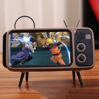 pocket music player 2021 - In 1 Retro TV Shape Phone Holder Movies Mobile Speaker Music Player Pocket Portable Lazy Stand Cell Mounts & Holders