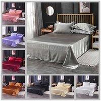 Wholesale Luxury 100% Satin Silk White 1PCS Flat Sheet Silky Queen King Bed Sheets For Women Men Y200417