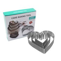 Wholesale Mousse Cake Ring Moulds Bread Baking Rings Pack Anniversary Birthday Big Sizes Heart Stainless Steel Cake Mold Pastry BakwareTools