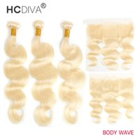 Peruvian Human Hair Bundles with Lace Frontal Eer to Ear 613 Blonde 13x4 Transparent HD Curly Wet And Wavy Water Wave Body Straight